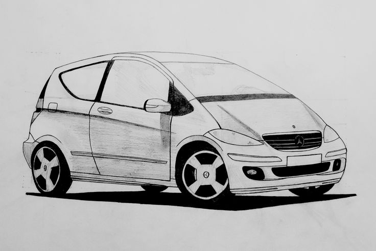 Mercedes A150, 50x70cm, brystol, pencil