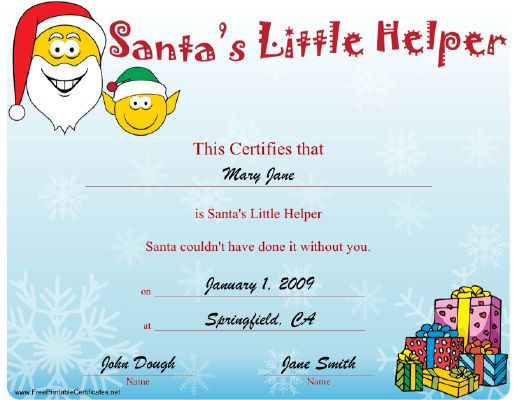 Certificate is presented to santa s little helper and says quot santa