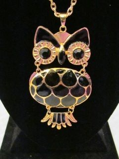 "Owl Statement Necklace in Black hangs 18.5"" from neck $17.99/ea"