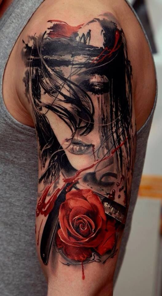 Tattoo tattoos girl face rose razor blade blood sex hot detailed 3d Hyper Realistic red