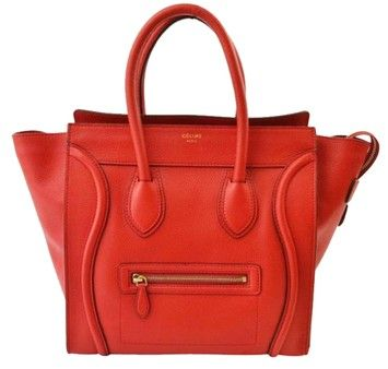 Celine Coquelicot Leather Mini Luggage Hand Red Tote Bag $2,407