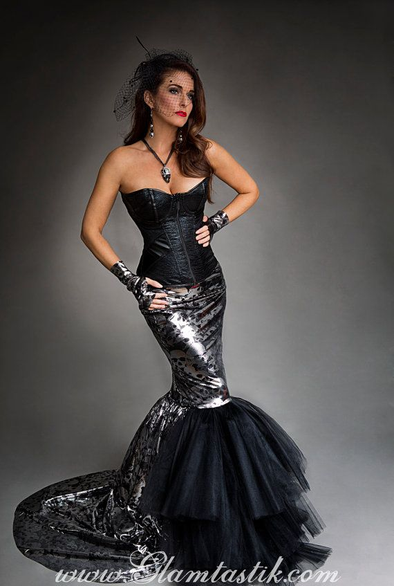 Size medium black and silver metallic mermaid style skull tulle prom dress Halloween with fingerless gloves Ready to Ship