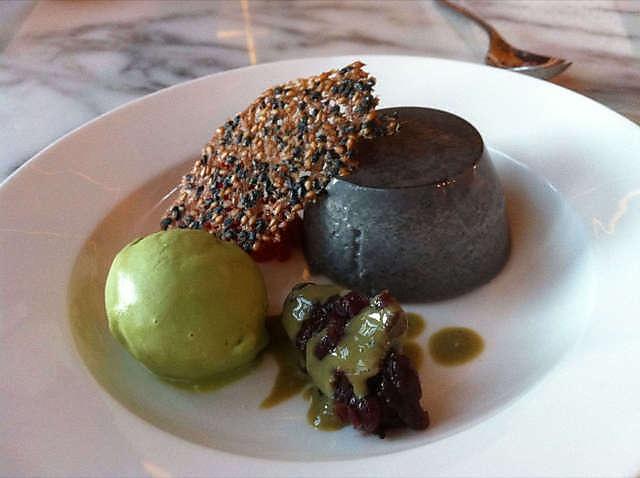 Black sesame panna cotta with green tea ice cream at Akachochin #swpromenade #melbourne #japanese #izakaya