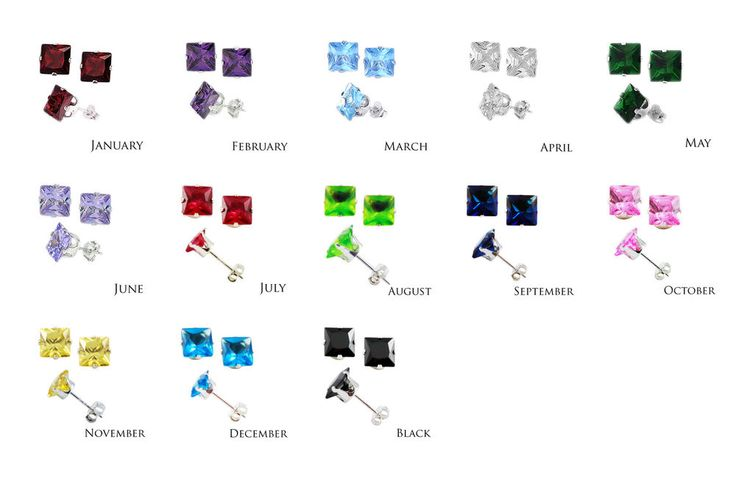 Sterling Silver Square CZ Stud Earrings 3 4 5 6 7 8 mm All Birthstones Avail. #Stud