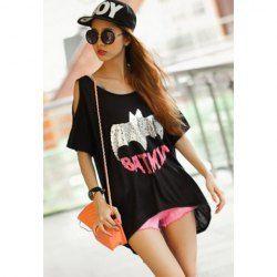 BATMAN - SILVER METALLIC T-SHIRT - DOLMAN BATWING SHIRT - -  $7.31 Plus Size Scoop Neck Bat and Letter Print Off-The-Shoulder Lycra   Cotton T-Shirt For Women