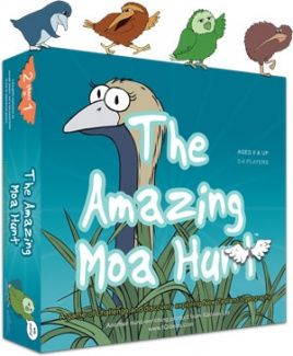 The Amazing Moa Hunt™ is a truly iconic New Zealand game. If you like treasure hunts, you're going to love searching beautiful Aotearoa for Moa treasures (footprints & eggs) by guessing the location of New Zealand towns and cities. Experienced explorers can play a second, even more challenging game. Using a set of clue cards, you can launch a fast paced battle requiring quick thinking and even quicker answers!