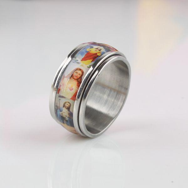Jesus pintura al óleo Doble Capa de Rotación anillos de Acero Inoxidable 316L hombres del anillo de dedo joyería al por mayor