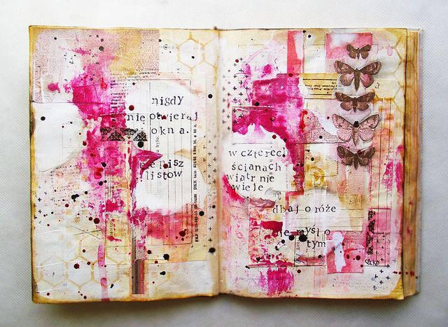 art journaling in an old book