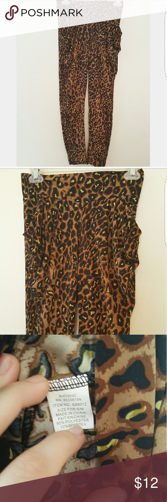 Fun Leopard Spandex Pants Great pair. Size for small/medium. 90%polyester 10% spandex. Cute, comfy and stylish! Pants