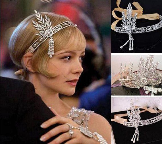 Great Gatsby headband Gatsby forehead band 1920s flapper Art Deco style wedding bridal hair accessories vintage headpiece