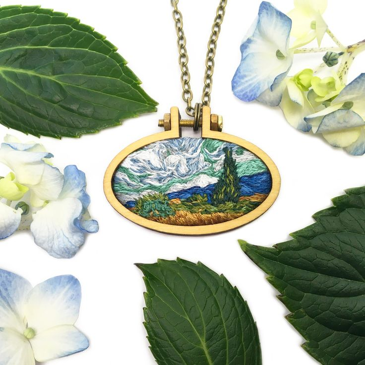Vincent van Gogh has always been one of my favorite artists. I was inspired to replicate the brushstrokes of his art with tiny stitches in this miniature embroidery. This pendant is a miniature recreation of a Wheat Field with Cypresses painting. The pendant hand embroidered and one of a kind. Many hours go into each piece and they are inspired from my love of art history. I hope you find something in my shop that you love. The photos shown are for reference and your penda...