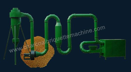 he sawdust flash dryer is new type design of biomass material drying equipment widely used in wood pellet plant and charcoal briquetting factory. Know as pipe dryer, it is good choice for solid raw material which has good flow ability. The suitable biomass material moisture content for making wood pellets and biomass briquettes is 8%-17%. This efficient wood dryer can process material with initial moisture content below 50%. E-mail: briquettepress2013@gmail.com