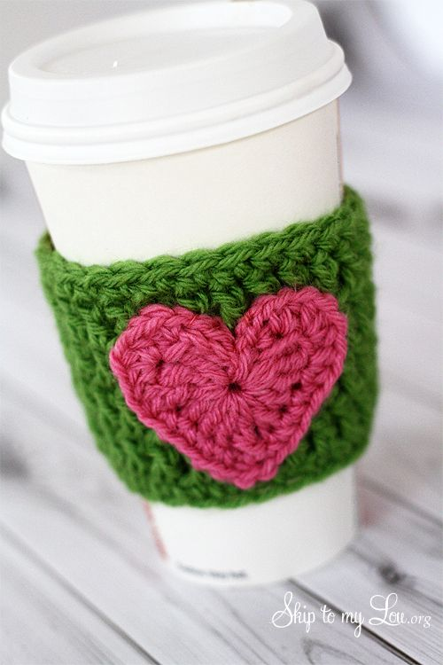 Crochet Coffee Cozy with Heart Applique by skiptomylou.org