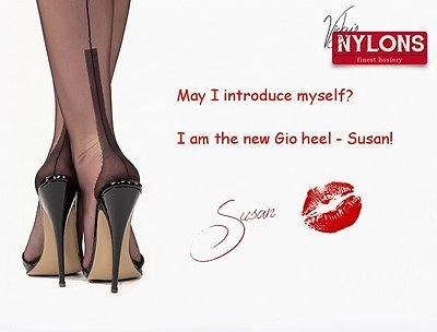 Seamed Garter Nylons Stockings Black size 8 1/2 Fully Fashioned new Heel SUSAN