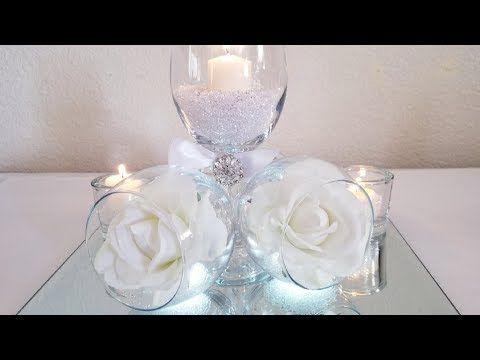 Diy Tilted Wine Glass Centerpiece Inexpensive For