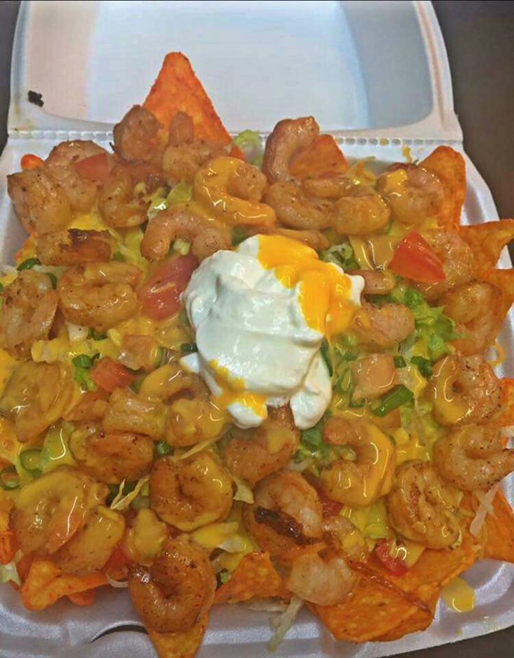 Shrimp taco salad with Doritos