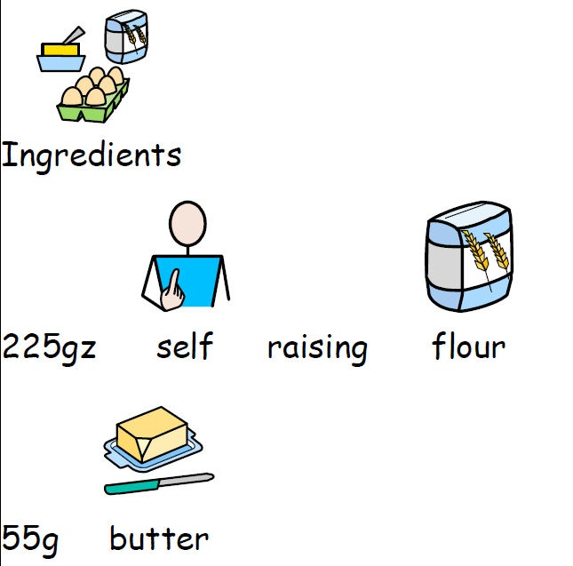 A selection of recipe cards, covering both sweet and savoury, that include Widgit Symbols for support