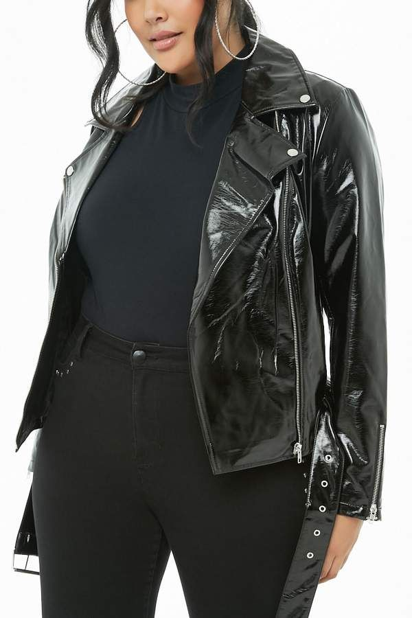 ca81a6ffc1e Forever 21 Plus Size Faux Patent Leather Moto Jacket