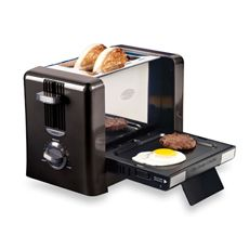 Toaster/Grill combo.  So cool: Flip Down Breakfast, Flipdown Breakfast, Idea, Gadgets, Breakfast Toaster, Kitchens Dining, Breakfast Sandwiches, Nostalgia Electric, Products