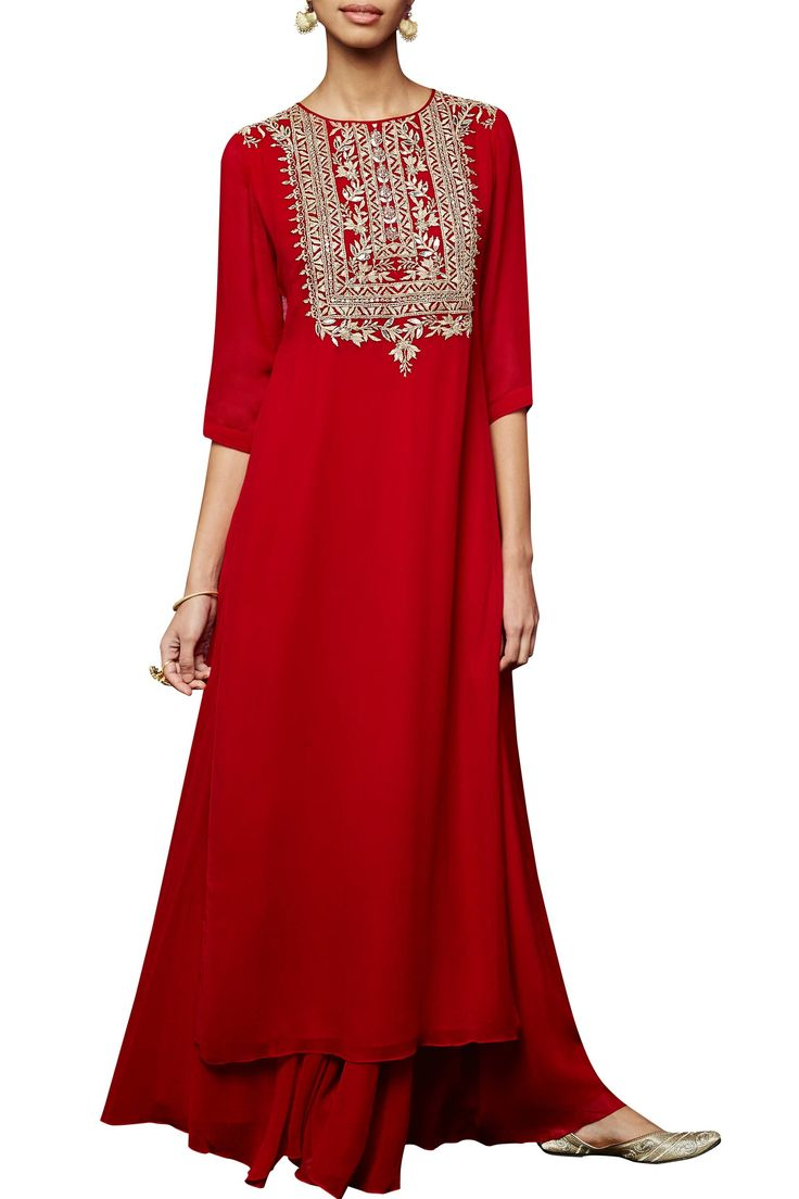 Red kurta and sharara set