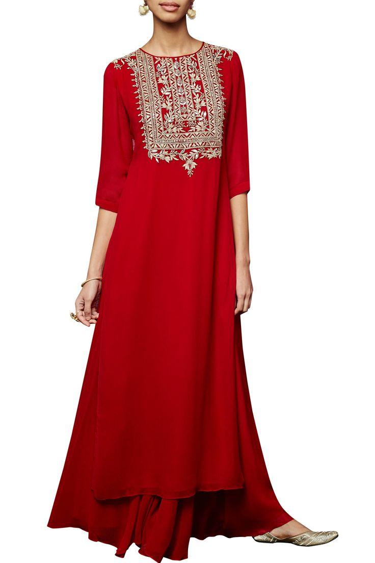 Red kurta and sharara set