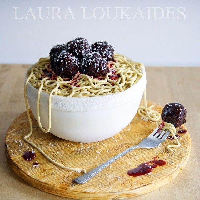 """Spaghetti & Meatballs Cake"" by Laura Loukaides #Cake"