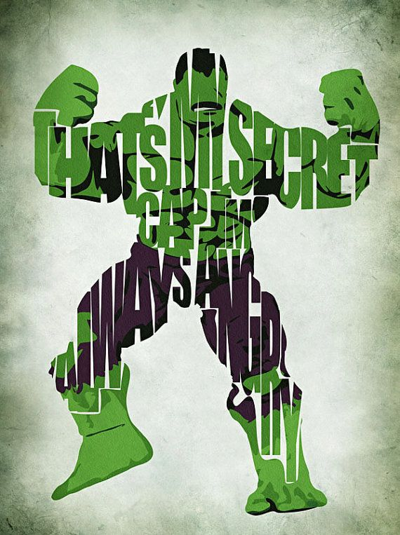 Hulk The Avengers Inspired Typographic Print and by GeekMyWalL, $25.00