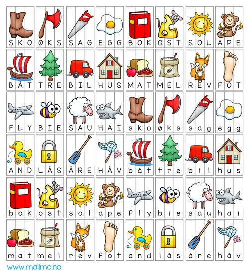 I dette opplegget får du: ✔ 24 x 2 sorteringspusleoppgaver ✔ Farge og svarthvitt-versjon for fargelegging ✔ Ordene sko, øks, båt, tre, sag, egg, bil, hus, bok, ost, mat, mel, sol, ape, rev, fot, fly, bie, and, lås, sau, hai, åre, håv - store og små bokstaver ✔ bokmål & nynorsk ✔ lærerveiledning