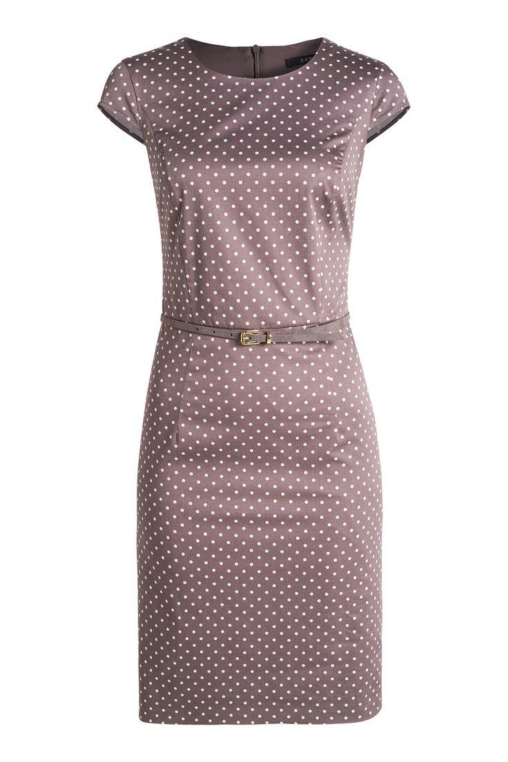 Esprit / Polka Dots Etuikleid mit Gürtel