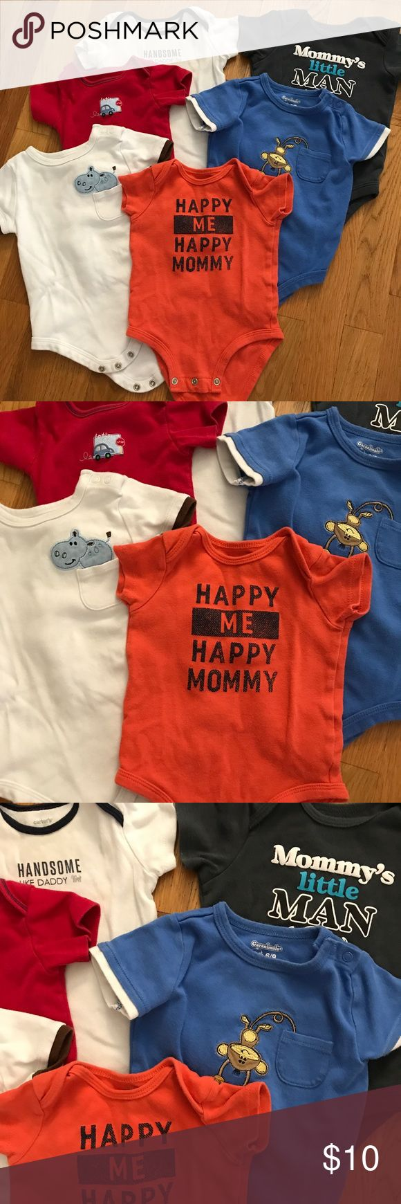 Onesie bundle Baby boy onesie bundle of six. Various brands used condition but still have some life left in them. One Pieces Bodysuits