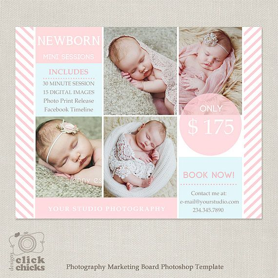 Mini sessie sjabloon - fotografie Marketing Board - pasgeboren Mini sessie 057 - C205, INSTANT DOWNLOAD
