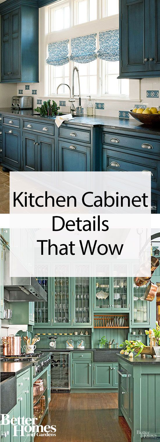 distinctive kitchen cabinet details from layered finishes and hip hardware to architectural embellishments