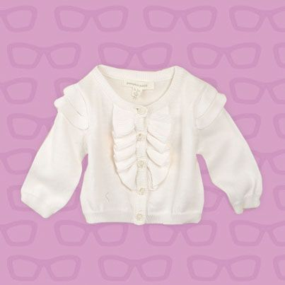 Pumpkin Patch Frilly Cardi - 100% cotton, available in sizes 0-3m to 18-24m www.pumpkinpatchkids.com