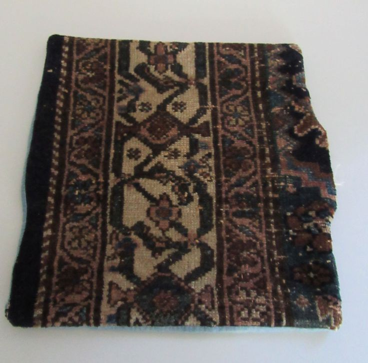 "Small pillow cover only made from oriental carpet, 13.5 x 12.5"", ca 20s, tan #JoesRugs #AsianOriental"
