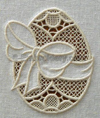 Easter egg cutwork lace embroidery design