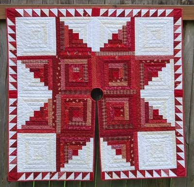 Gorgeous Log Cabin Christmas Tree Skirt