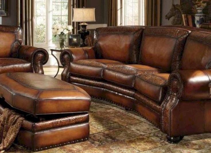 wonderful western living room furniture | Rustic Leather Living Room Furniture Design Ideas 20 in ...