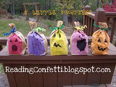 "After teaching the rhyme ""Five Little Pumpkins"" (sitting on a gate . . .) make 5 paper bag pumpkins stuffed with newspaper.  Then have some fun target practice by throwing a ball to knock them off.  Reinforce ordinal numbers, too."