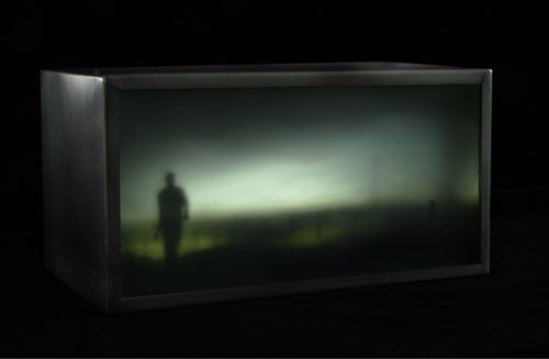 """Interventions in Landscape 20 layers of enamelled & sandblasted glass, in glass lightbox with l.e.d.'s 35 x 19 x 12.5 cm/7.5""""x14""""x5"""" 2008"""