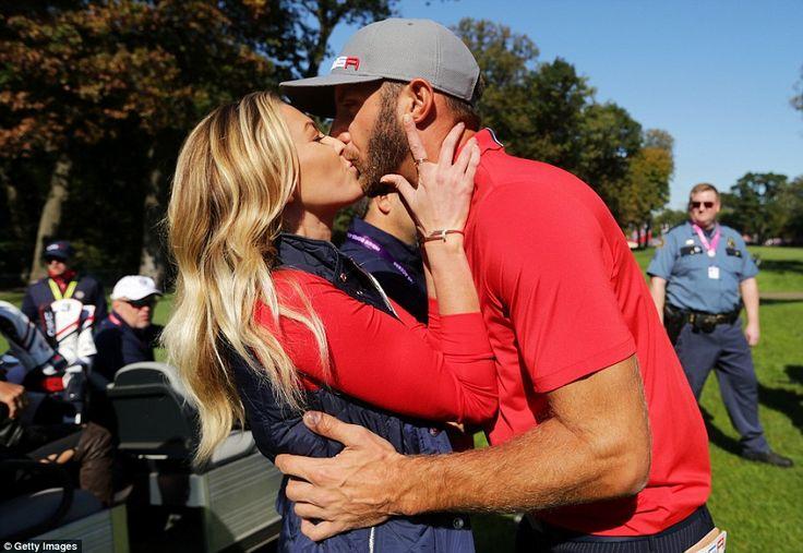 Flying the flag for Team America is Paulina Gretzky, the model girlfriend of 2016 US Open winner Dustin Johnson