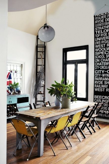 The Dining table WAS an eBay Find That homeowner Jane Frosh , of Showponystudios , sanded then Coated with Vegetable Oil.