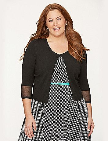 The closet-essential cardigan gets a modern update with sheer illusion cuffs for just a hint of spice. Ultra versatile cropped length and single-button closure make it a darling topper to dressy and casual looks alike, in a smooth micro knit for a luxe look and feel. 3/4 sleeves. lanebryant.com