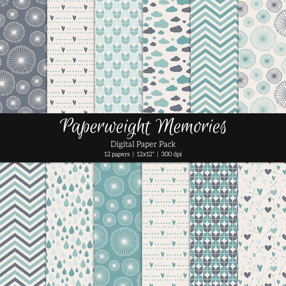 Patterned Paper - Aqua Dreams by Paperweight Memories on @creativemarket ... https://crmrkt.com/xXB7k