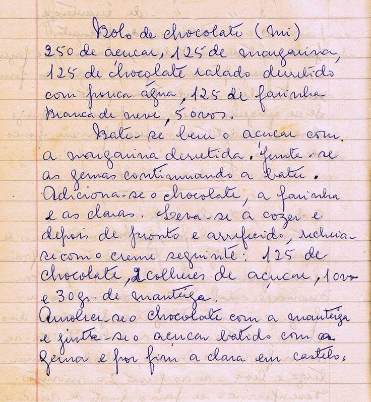 As Receitas da Avó Helena e da Avó Eduarda: Bolo de Chocolate (Tia Mi)