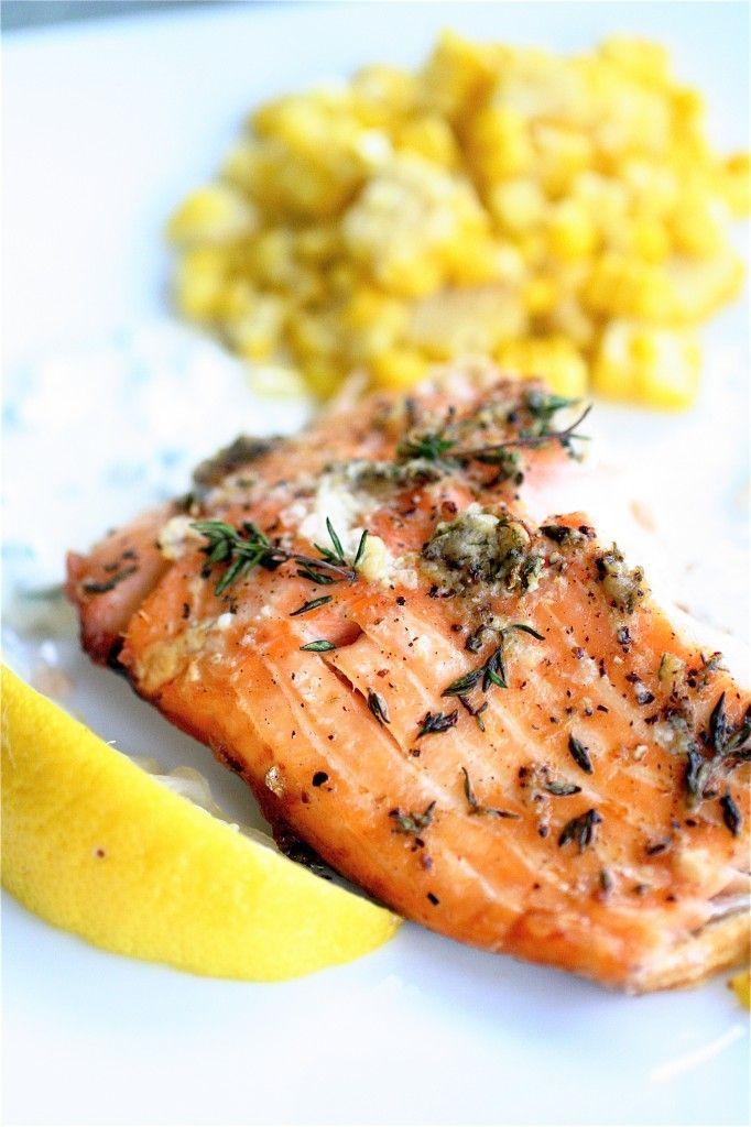 salmon with horseradish and chive sauce.