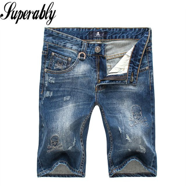 Special price Summer Fashion Men Jeans Shorts Blue Color Skull Embroidery Stripe Jeans Men Shorts Brand High Quality Ripped Jeans Shorts Men just only $28.99 with free shipping worldwide  #jeansformen Plese click on picture to see our special price for you