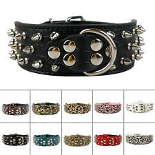 "New Turquoise Spiked Studded Leather Dog Pet Collar Neck for 15-24"" Adjustable"