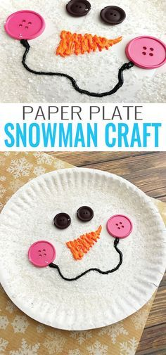 DIY Paper Plate Snowman Craft. These turn out so cute and the kids will love decorating their own snowman. This is a great indoor craft for your kids when it's too cold to play outside, or for your next classroom Holiday party!