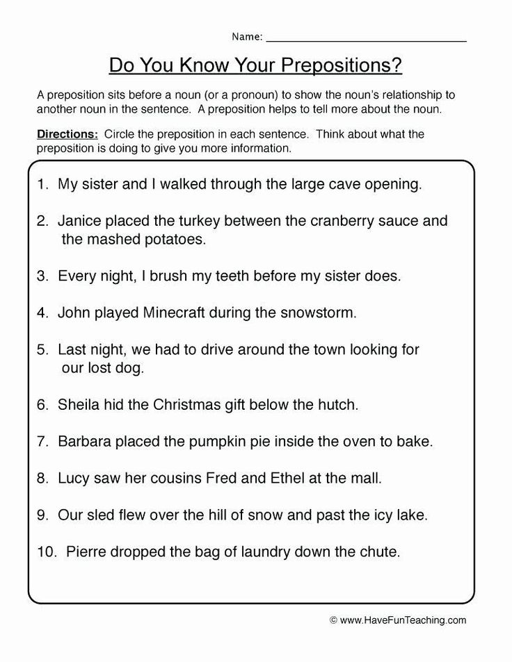 Preposition Worksheets for Middle School in 2020