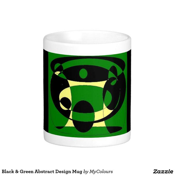 Black & Green Abstract Design Mug